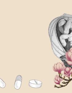 ilustración ácido fólico y embarazo - collage de Aurora Quiterio